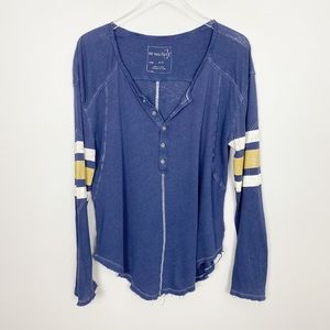 FREE PEOPLE Game Time Henley S Blue Tee Oversized